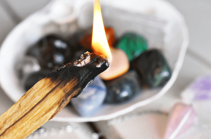 cleanse crystals with palo santo