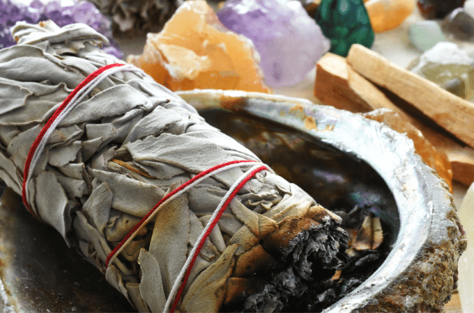 cleanse crystals with sage